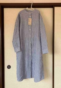 women_french_linen_washed_stand_collar_dress